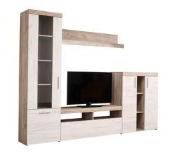 Meuble TV campagne LUCIEN Chêne grisé et bois blanchi