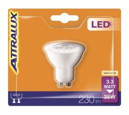 Ampoule LED 3,3W équiv 35W 230lm GU10 Blanc chaud