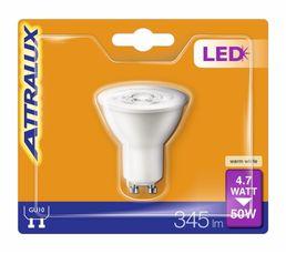 Ampoule LED 4,7W équiv 50W 345lm GU10 Blanc chaud