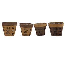Set de 4 cache pots papier  Marron