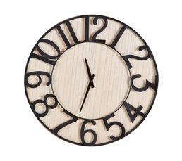 ANGELA Horloge ø 57 cm Nature/noir