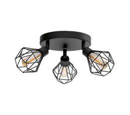 Plafonnier 3 lumières LED ZAPATA Noir et ambre