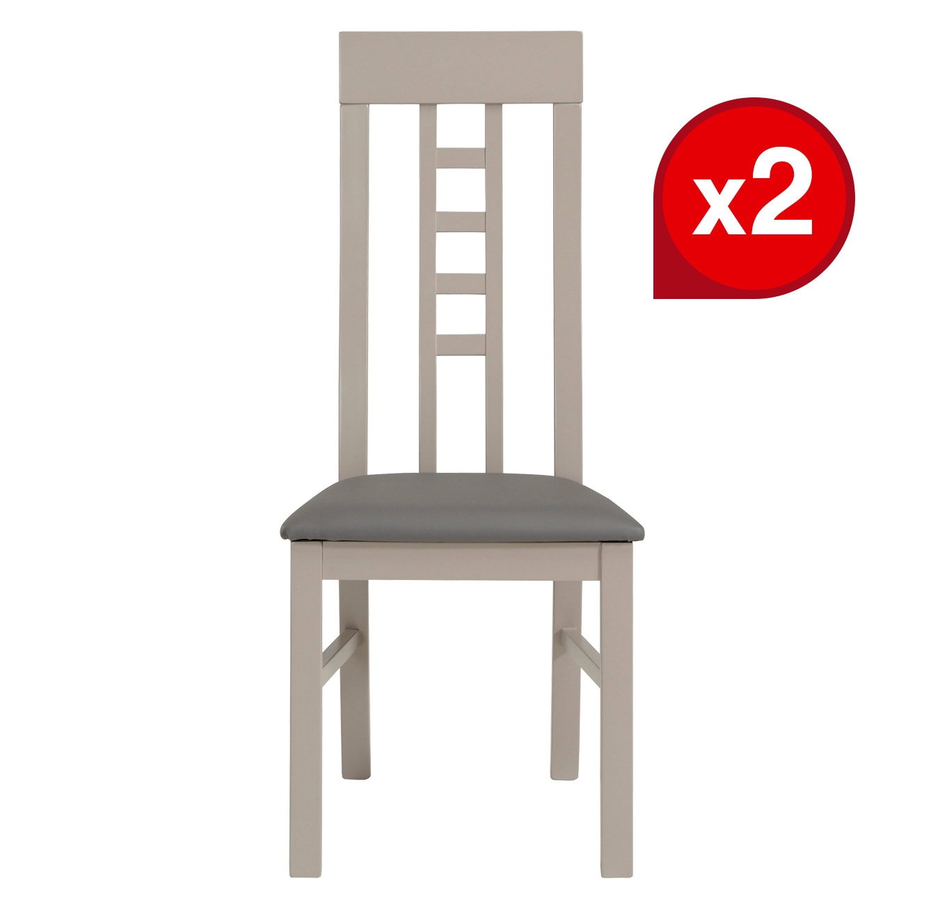 LOT de 2 Chaises MALONE GRISES