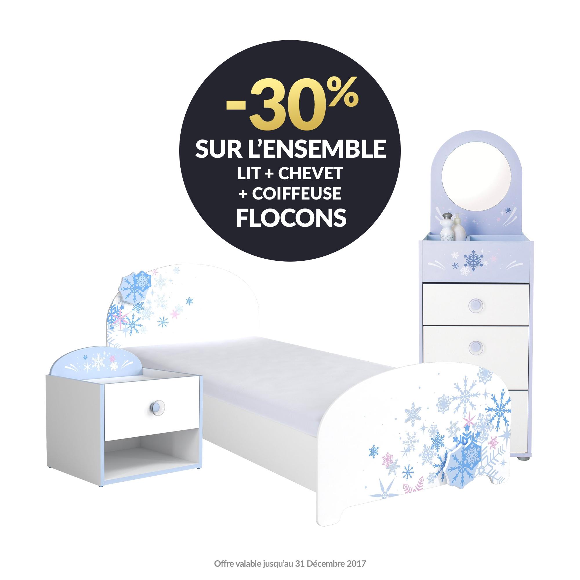 Chambre FLOCONS : -30% sur l'ensemble lit + chevet + coiffeuse