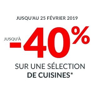 Jusqu'à -40% sur les cuisines Louise, Rocka, Osalite et Flash