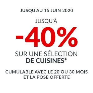 Jusqu'à -40% sur une sélection de Cuisines
