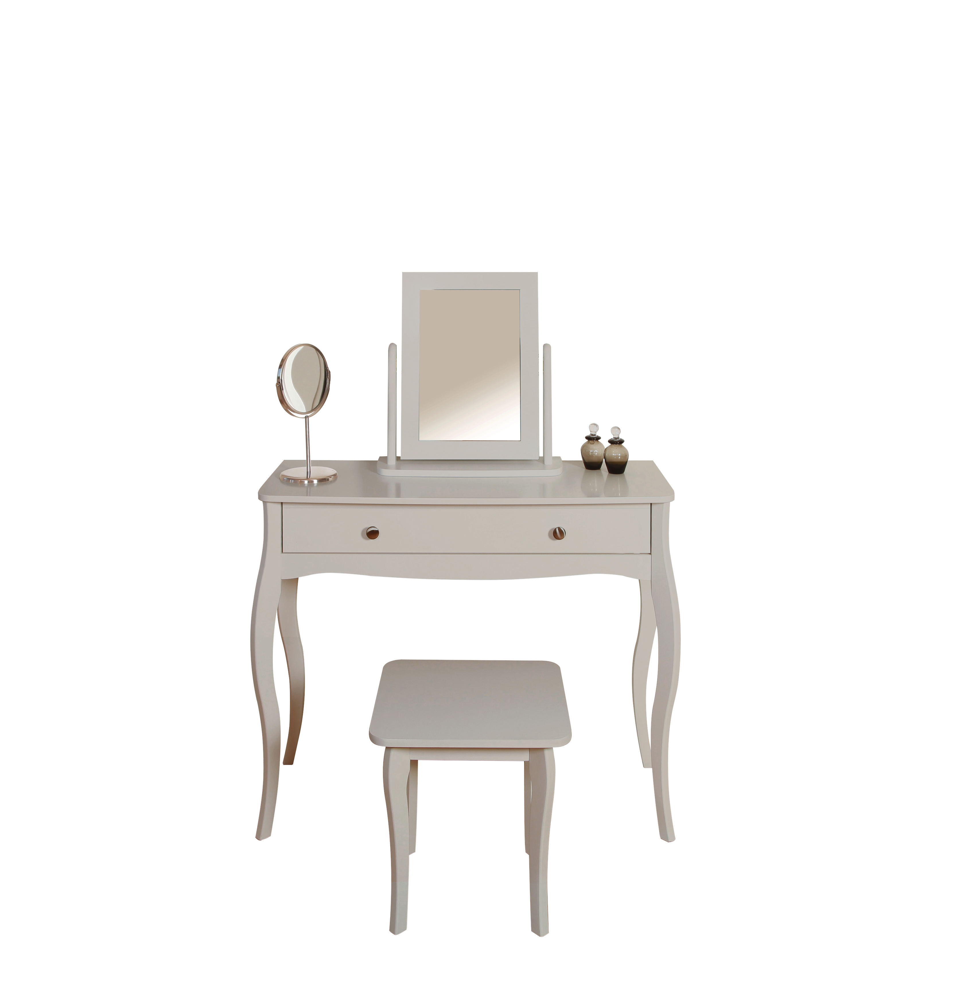 Coiffeuse Barroco Avec Tabouret Gris Commodes Chiffonniers