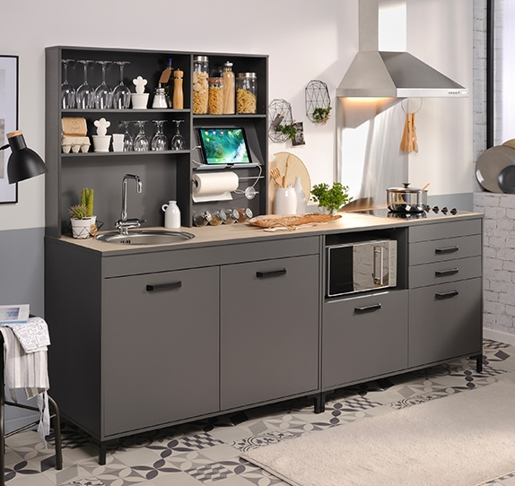 meuble de cuisine en kit pas cher. Black Bedroom Furniture Sets. Home Design Ideas