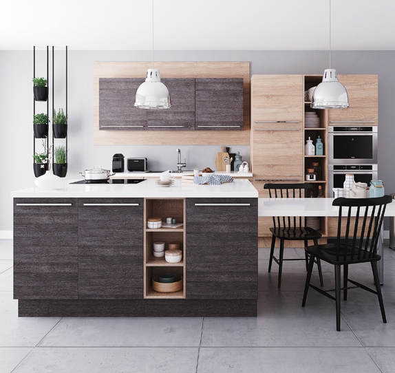 cuisine mixant finition bois mat et mat riaux inox et acier pour un style moderne. Black Bedroom Furniture Sets. Home Design Ideas
