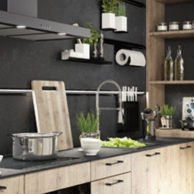 évier inox cuisine bois moderne contemporain cuisine Armelle