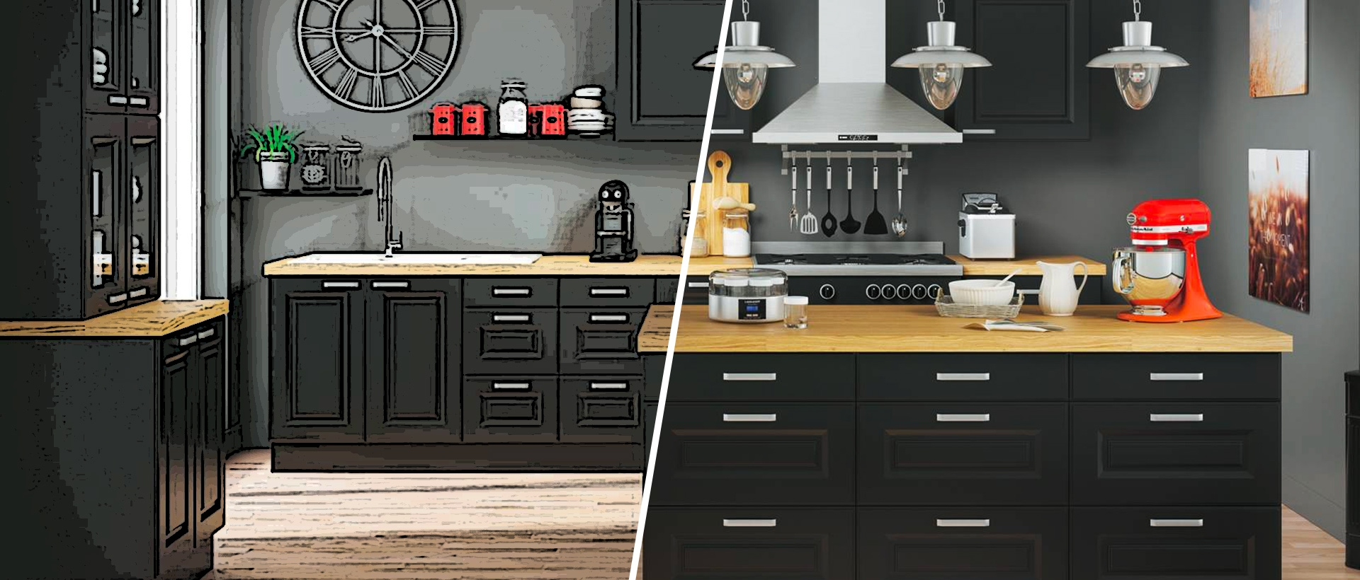 but cuisines cuisine quip e kitchenette meubles de cuisine sur mesure en kit chez votre. Black Bedroom Furniture Sets. Home Design Ideas