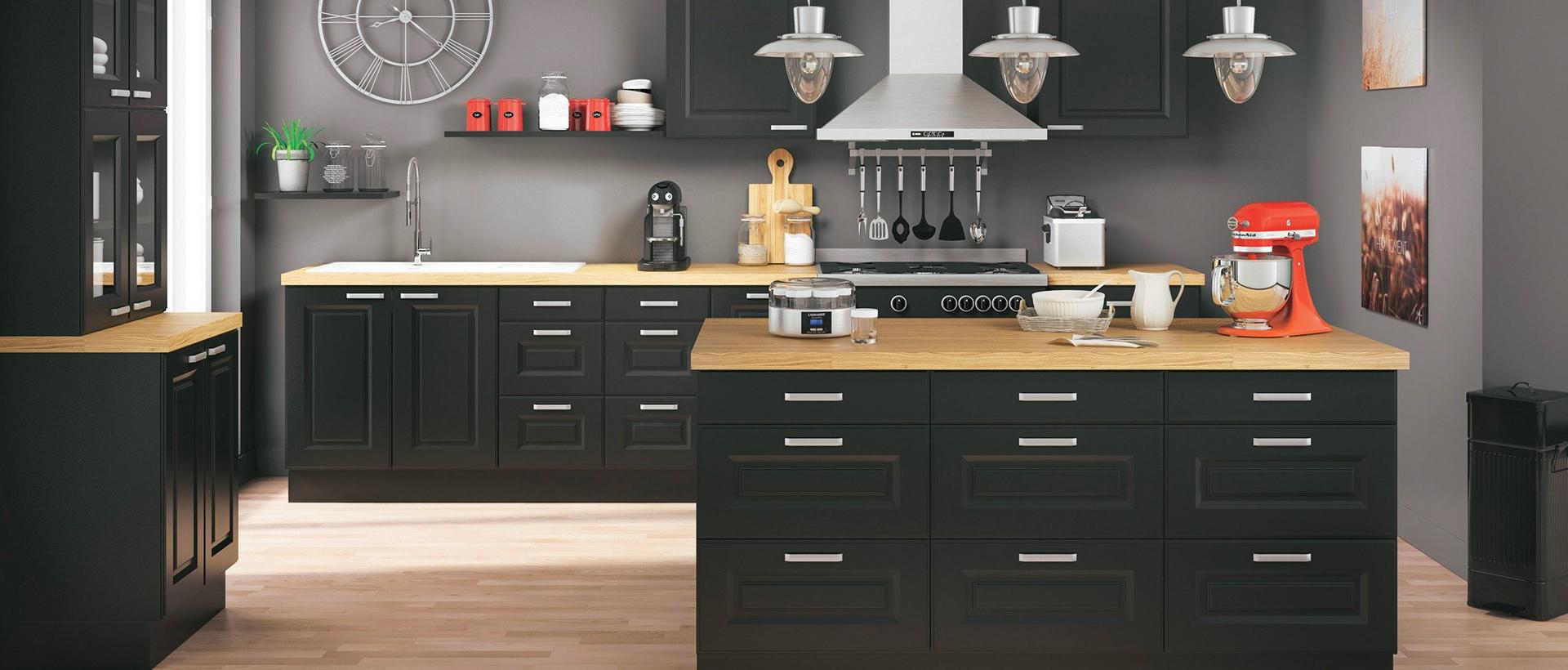 but cuisines cuisine quip e moderne kitchenette meubles de cuisine sur mesure en kit chez. Black Bedroom Furniture Sets. Home Design Ideas