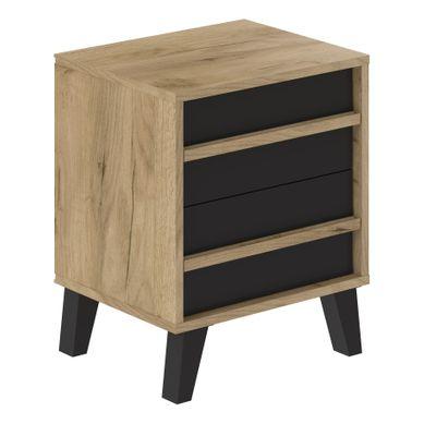 OTAWA imitation chêne et noir  2 tiroirs