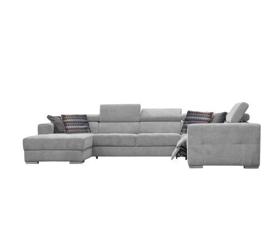 Canapé d'angle U convertible relax gauche QUARTZ tissu gris clair