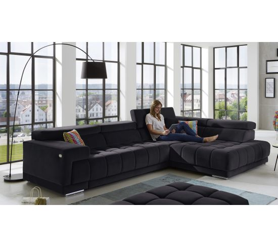 Canapé d'angle droit relax pack full option OCEAN tissu Salsa anthracite