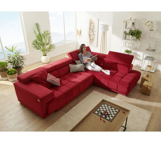 Canapé angle droit relax électrique OCEAN pack expo tissu Salsa rouge