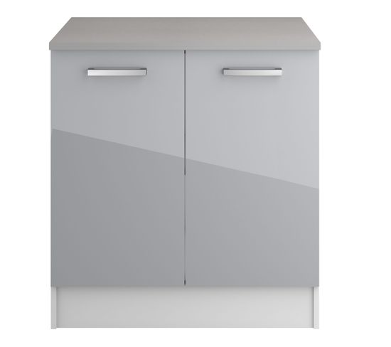 Bas 80 Cm 2 Portes Elibox 243344 Gris Brillant Meuble Bas De
