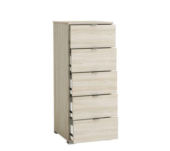 Chiffonnier 5 tiroirs PERFECT imitation chêne