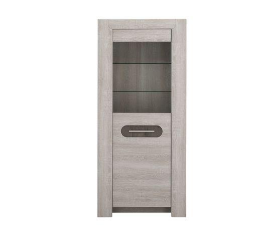Colonne 1 porte vitrée SANDRO Chêne/marbre gris