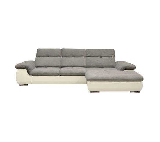 Canapé d'angle convertible méridienne droite ANDY II PU blanc tissu souris