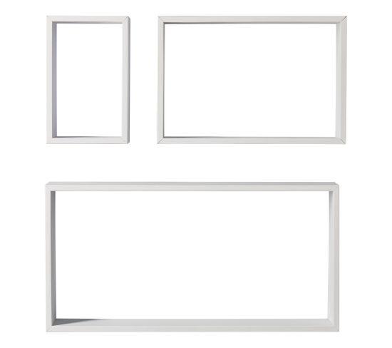 Set de 3 étagères cubes SHELVY Blanc