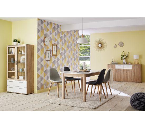 Buffet 4 portes/2 tiroirs TOLEDO décor chêne sonoma/blanc