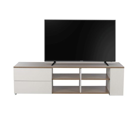 Meuble TV BRICE blanc/chêne gris