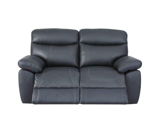 Canapé 2 places 2 relax manuels AREZZO cuir et PU noir