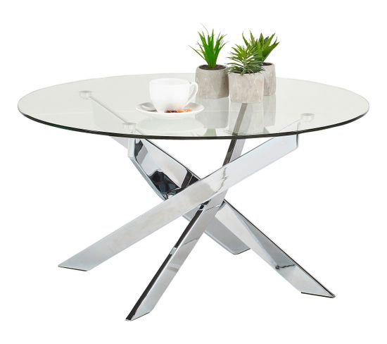 Table basse ronde PIVO Verre et Chrome Table basse BUT