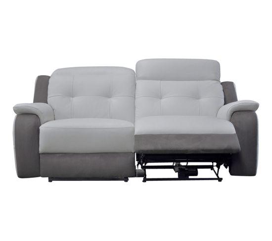 Canapé 3 places 2 relax électriques CARAVELLE II cuir,croûte gris et micro gris