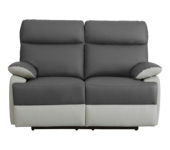 Canapé 2 places 2 relax manuels JODIE PU gris foncé gris clair
