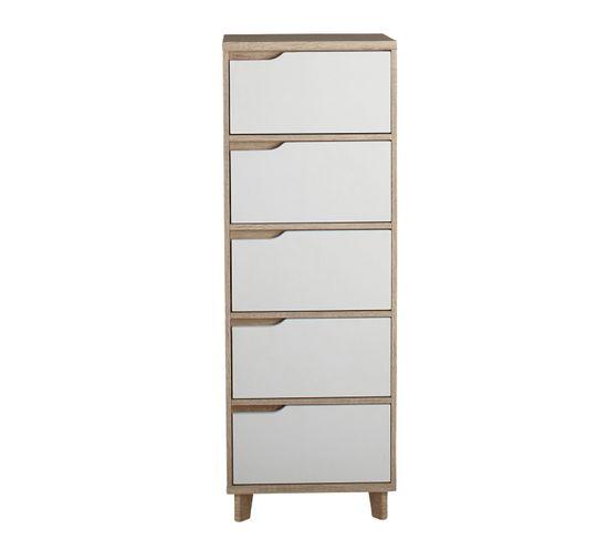 Chiffonnier 5 tiroirs Nordic imitation chêne et blanc