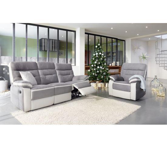 Canapé 3 places 2 relax manuels PRINCETON micro et PU gris