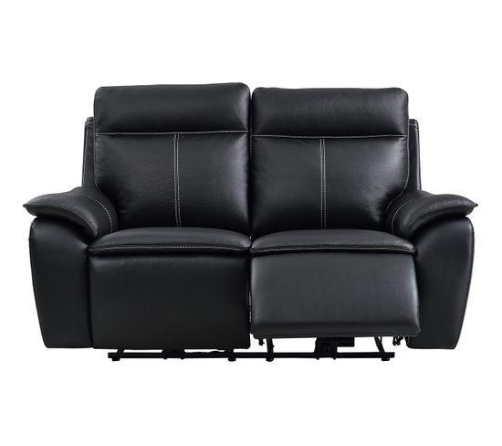 Canapé 2 places 2 relax électriques AUSTIN cuir et PU noir