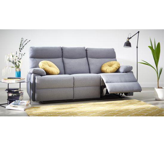 Canapé 3 places 2 relax manuels JODIE tissu gris bleuté