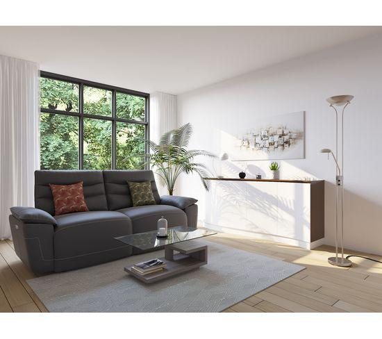 Canapé 3 places 2 relax électriques EVOGG cuir et croûte cuir taupe gris