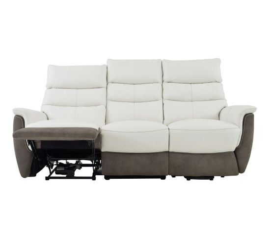 Canapé releveur électrique droit MAESTRO cuir blanc et micro gris