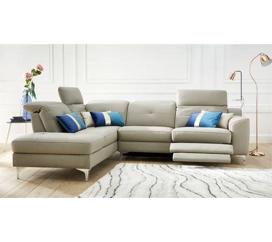 Canapé d'angle droit relax électrique WESTLAND cuir buffle PU taupe