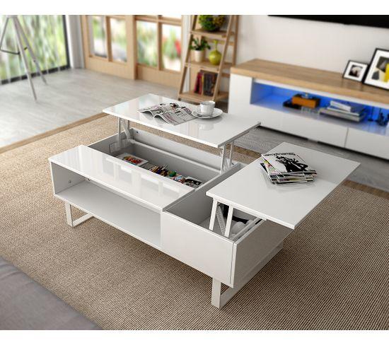 Table basse plateau relevable HAMPTON Blanc