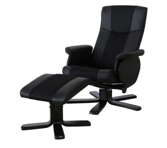 Fauteuil relax et repose pieds OFFICE II PU et tissu noir