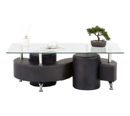 Table Basse Avec Pouf But.Table Basse Et 2 Poufs Alpha 2 Noir Table Basse But