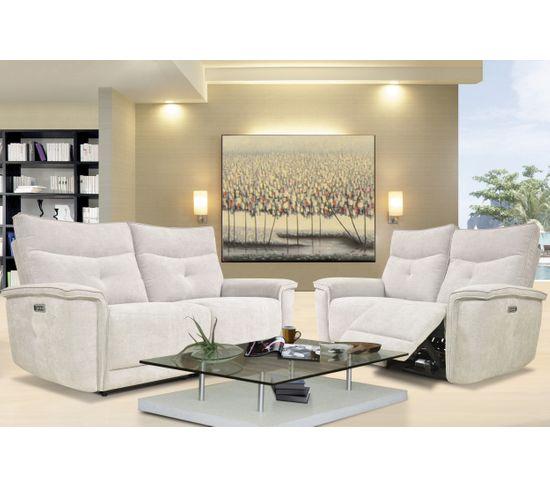 Canapé relax 2 places 3 moteurs ADAM tissu gris beige