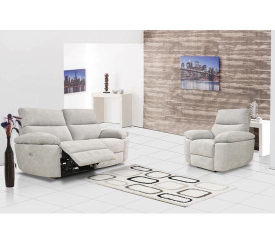 Canapé 3 places 2 relax électriques ORION tissu gris beige