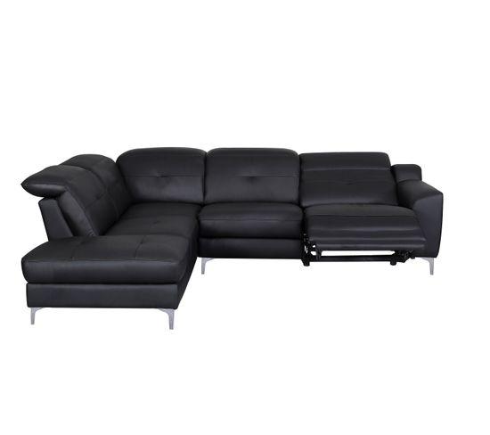 Canapé d'angle gauche relax électrique WESTLAND cuir buffle et PU taupe