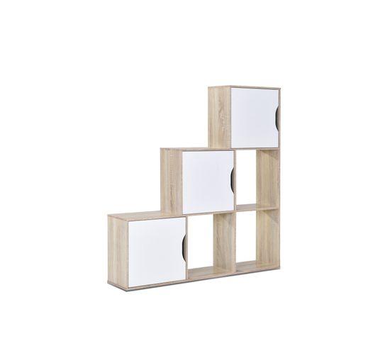 Bibliothèque 3 portes PIC Imitation Chêne clair et blanc