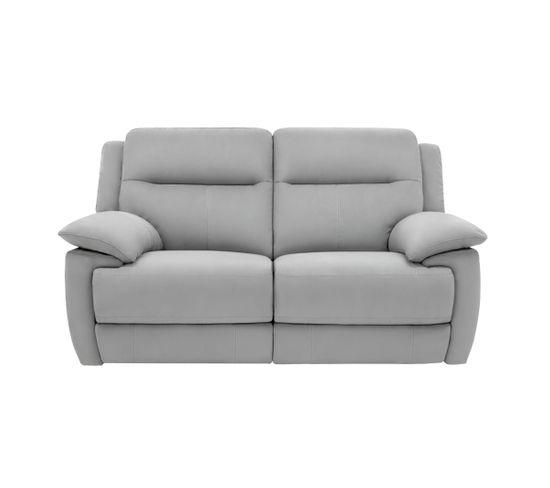 Canapé 2 places 2 relax électriques CURTISS II tissu gris clair