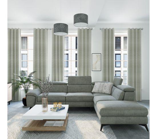 Canapé angle droit relax électrique NEWPORT tissu gris clair