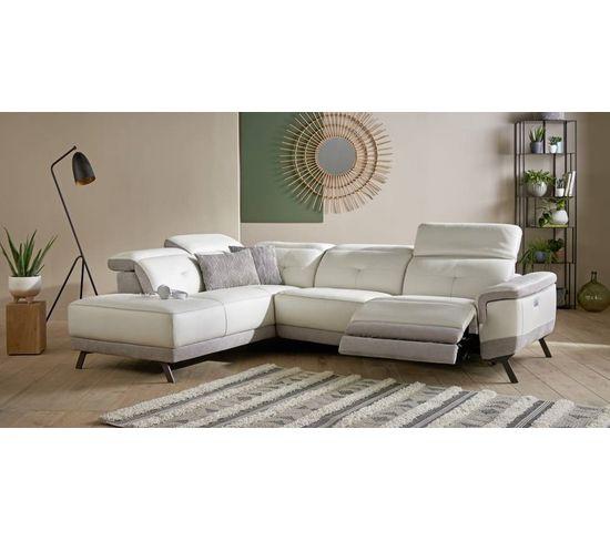 Canapé grand angle gauche relax électrique STYLSON cuir et croûte de cuir blanc