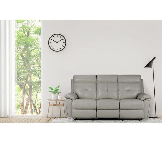Canapé relax 3 places MARCEL cuir et simili cuir gris
