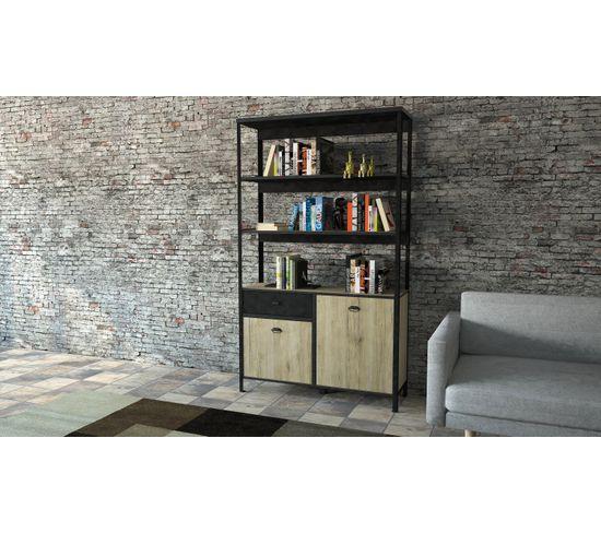 Bibliothèque HARLEM Imitation chêne et noir